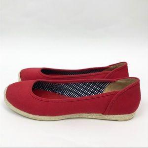Talbots 8 Espadrilles Ballet Flats Red